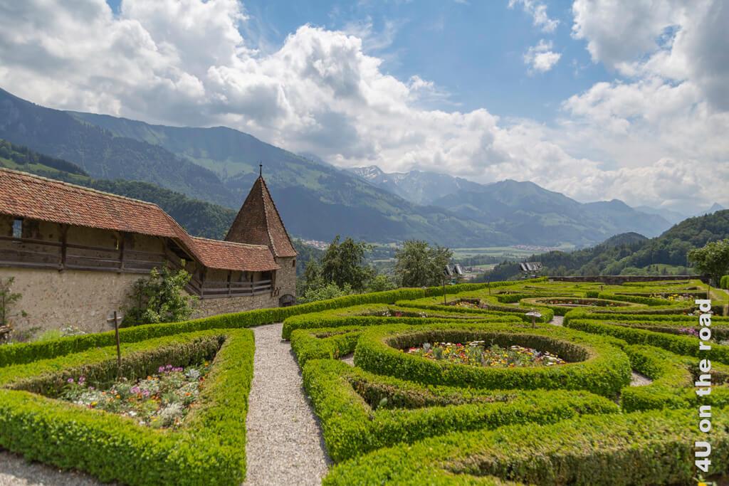 Der Garten von Schloss Gruyères
