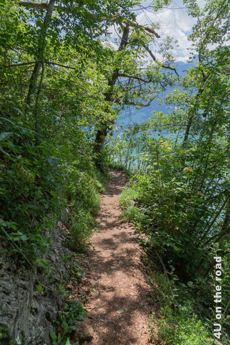 Eine Wohltat für die Knie ist dieses schmale gerade Stück Weg beim Abstieg nach Quinten