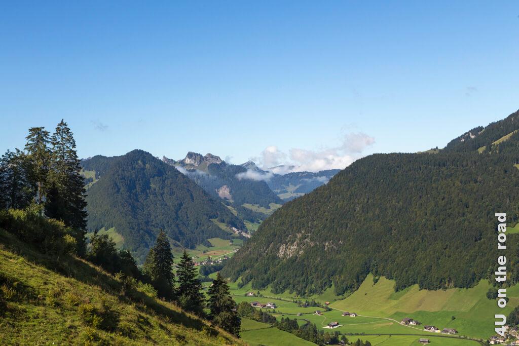 Blick von der Seilbahn Alt St. Johann ins Tal