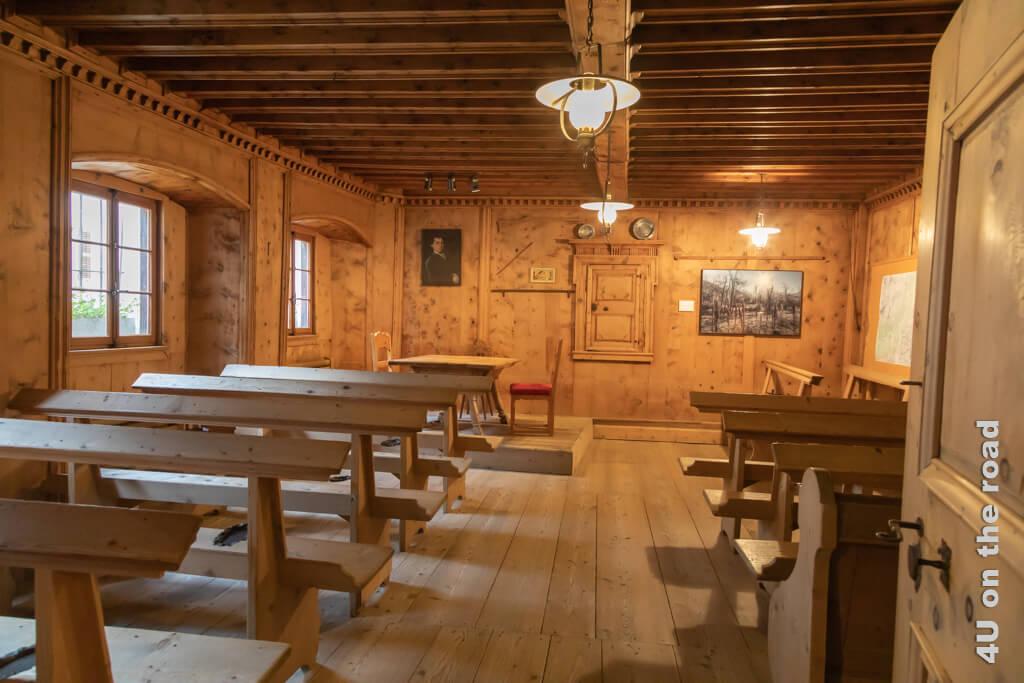 Der alte Gerichtssaal im Rathaus von Vicosoprano