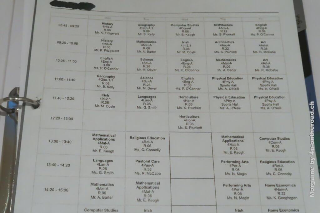 Mein Stundenplan in Irland - erster Schultag in Irland im Austauschjahr