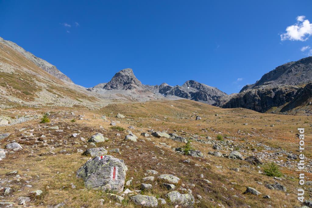 Blick zurück - von da (die Fuorcla Val Champagna kann man nur ahnen) sind wir gekommen. Allerdings ist das erst ein Bruchteil der 1.000 Höhenmeter, die wir nach unten müssen.