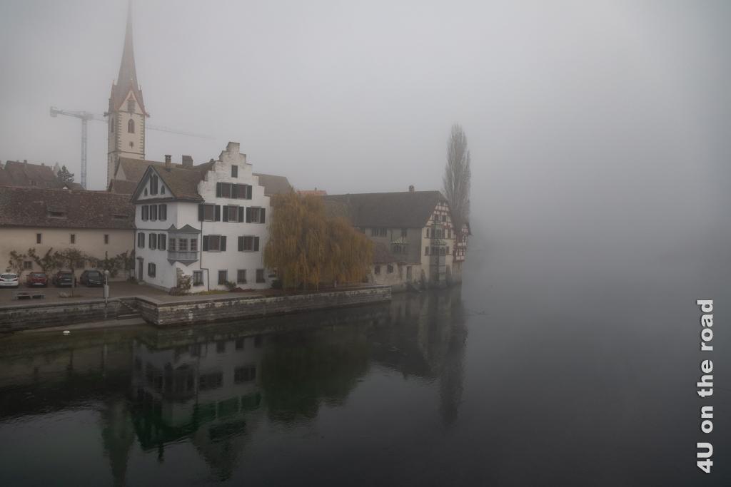 Blick von der Rheinbrücke auf das Kloster Sankt Georgen - Stein am Rhein
