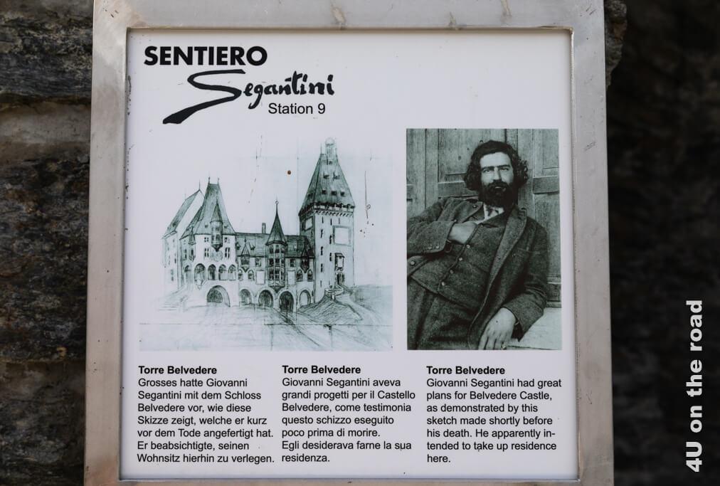 Diese Tafel zeigt eine Skizze, wie Giovanni Segantini sich den Umbau als Familienwohnsitz vorstellte.