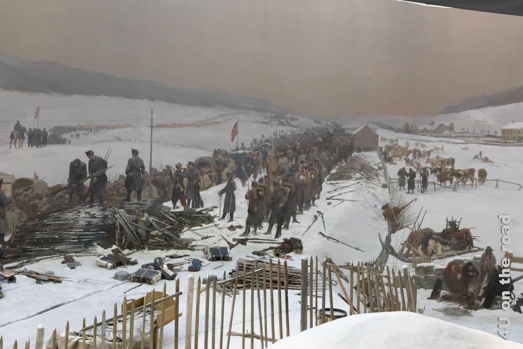 Entwaffnung - Bourbaki Panorama - Die Waffen sollten nach Begleichung aller Kosten an Frankreich übergeben werden.
