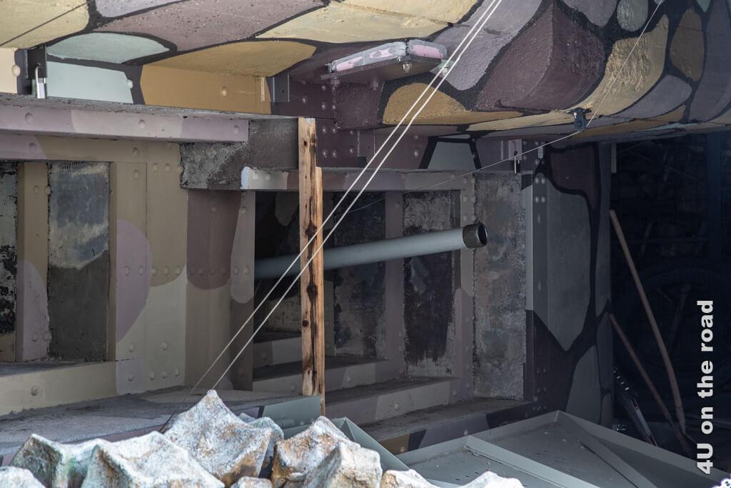 Die Panzerabwehrkanone der Festung Albula.