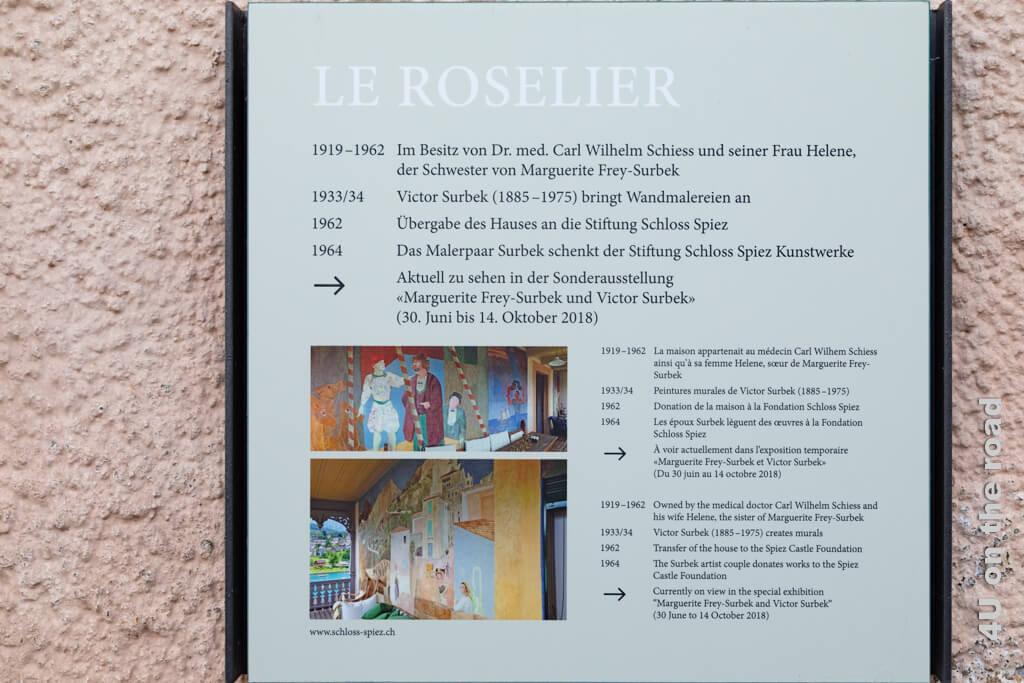 Hinweistafel am Haus Le Roselier