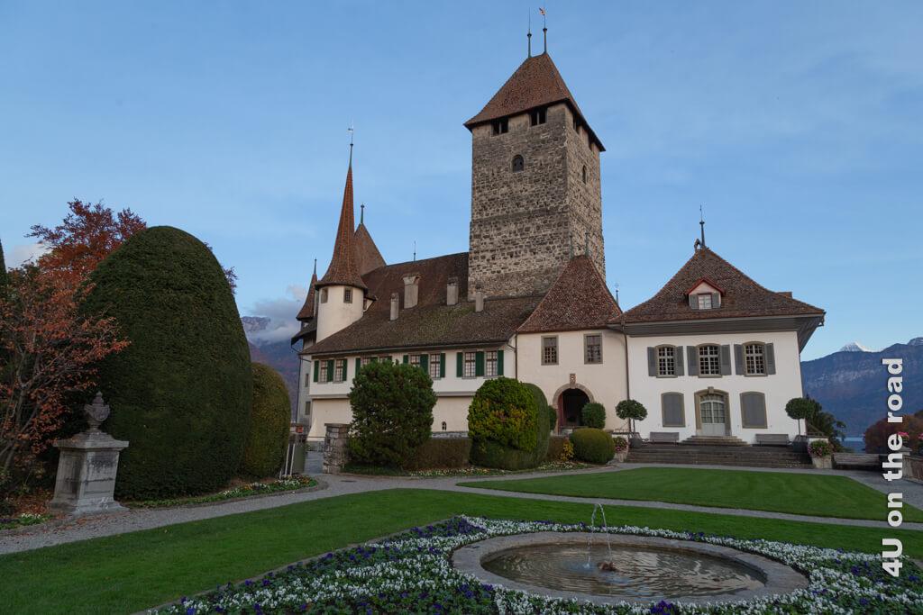 Das Schloss Spiez im Abendlicht