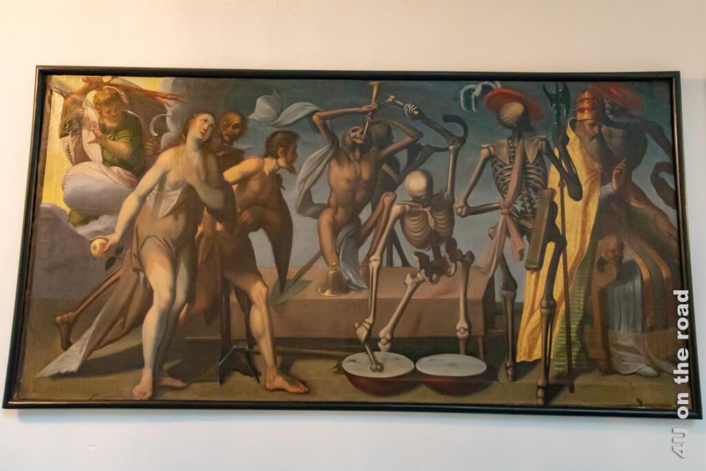 Erstes Bild des Totentanz-Zyklus mit der Vertreibung von Adam und Eva aus dem Paradies, Jakob von Wyl, ca. 1615 im Ritterschen Palast