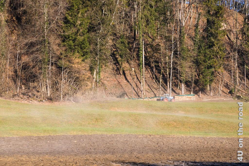 In der Sonne steigen feine Dampfschwaden auf, die den Frost verschwinden lassen.