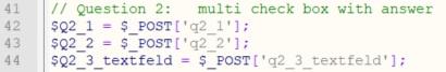 Antwort Variablen für multi checkbox mit Freitextfeld - Umfrageseite selbst bauen in WordPress
