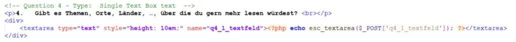 Code für eine Frage mit reiner Freitexteingabe - Umfrageseite selbst bauen in WordPress