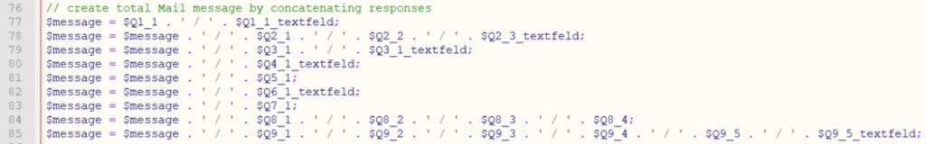 Zusammenfügen der einzelnen Antwort Variablen zum Antwort String für die E-Mail - Umfrageseite selbst bauen in WordPress