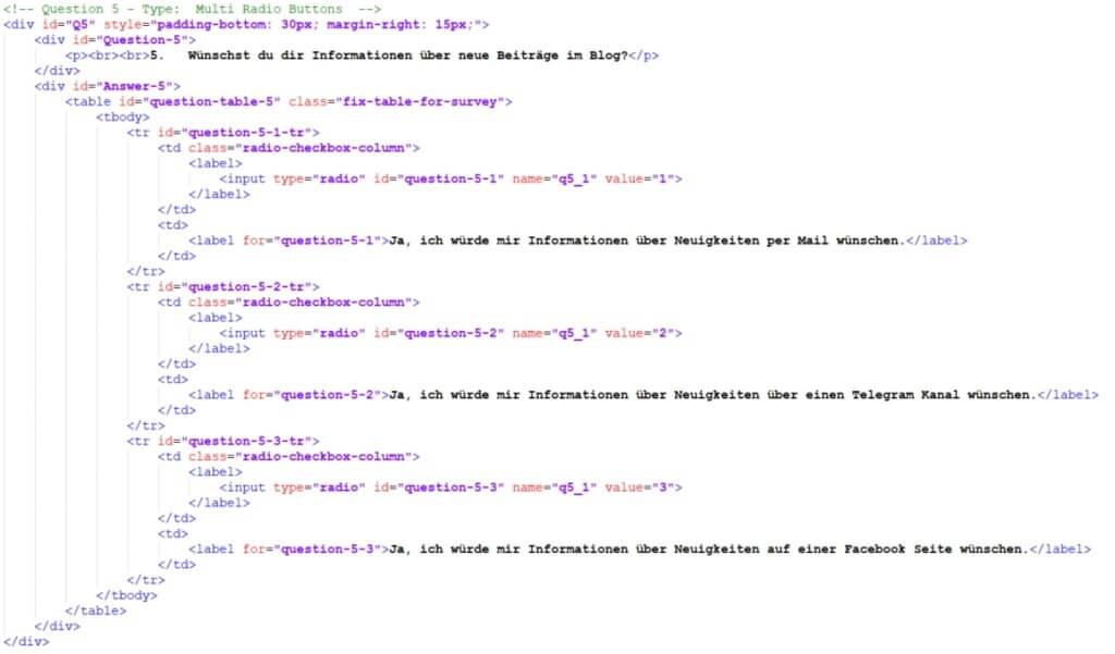 Code für eine Frage mit single choice Antwort. Dieser benutzt Radio Buttons - Umfrageseite selbst bauen in WordPress