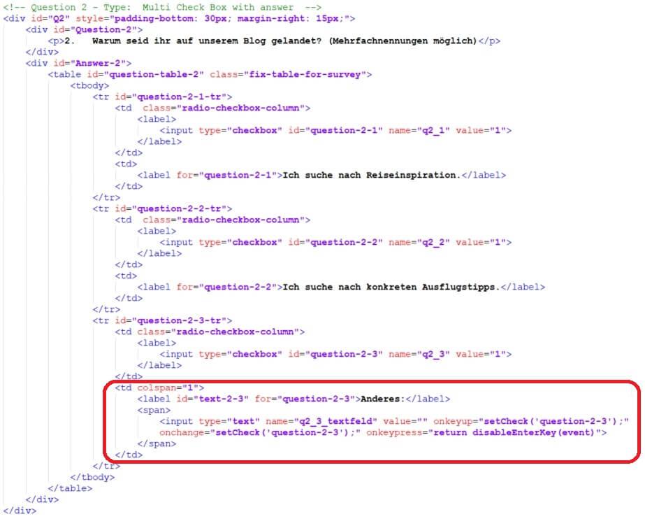 Code für eine Multiple Choice Frage mit Freitext Option - Umfrageseite selbst bauen in WordPress