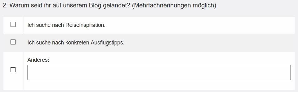 multiple-choice Frage mit Freitext Option auf der Website