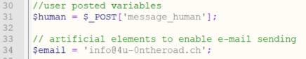 Durch diesen Code werden der Wert für die Robot Prüfung und die Ziel-E-Mail Adresse gesetzt