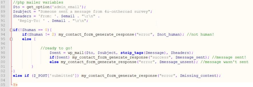 Die Funktion zum Senden der E-Mail mit vorangehender Prüfung