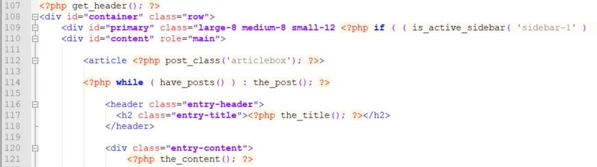 Rahmencode für die Seitengestaltung enthält die Elemente des Themes