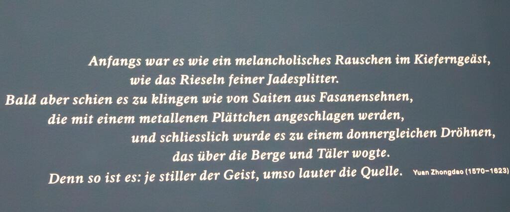 """Zitat im Museum Rietberg in der Sonderausstellung """"Sehnsucht Natur"""""""