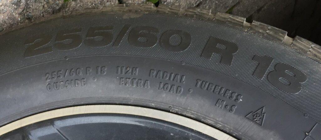 """Reifenbreite, Reifenhöhe und Felgendurchmesser 255/60 R18, Lastindex 112 und Geschwindigkeitsindex """"H"""" in der unteren Reihe - Wohnmobil Reifen"""