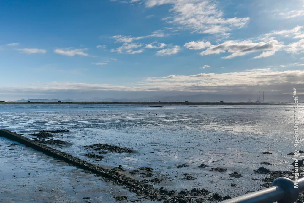 Die Industrieanlagen im Hintergrund und die Rohre im Vordergrund machen nicht so Lust, hier zu schwimmen. Foto Challenge Meer, Portmarnock