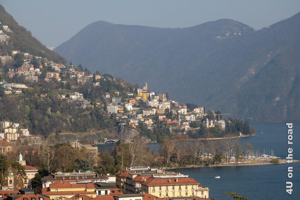 Dieses Bild ist vom Zug bei der Einfahrt nach Lugano aufgenommen worden.