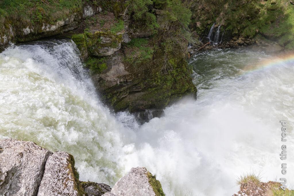 Von der schweizer Seite aus wirkt der Saut du Doubs trotz der Wassermengen nicht so spektakulär.