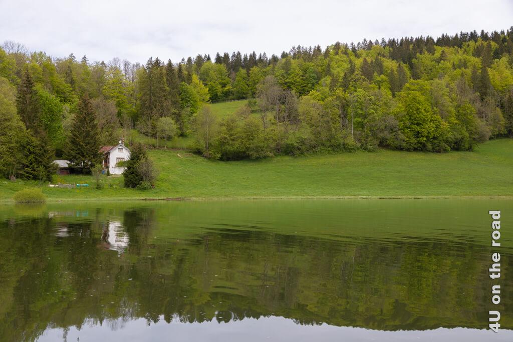 Auf der Hinfahrt ist das Wetter noch trüb, dennoch hat die liebliche Uferlandschaft etwas. - Schiffahrt auf dem Doubs