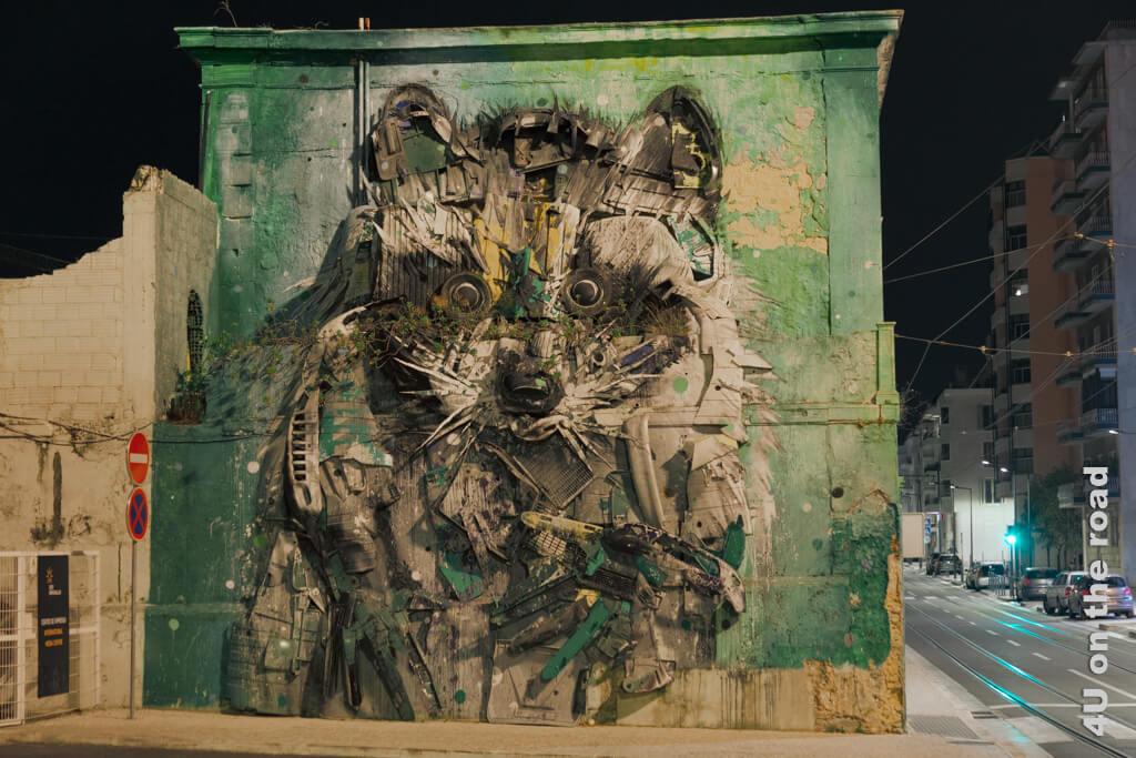 """Street Art - der """"Grosse Waschbär"""" von Bordalo II von vorn. Sehenswürdigkeit von Lissabon bei Tag und bei Nacht."""