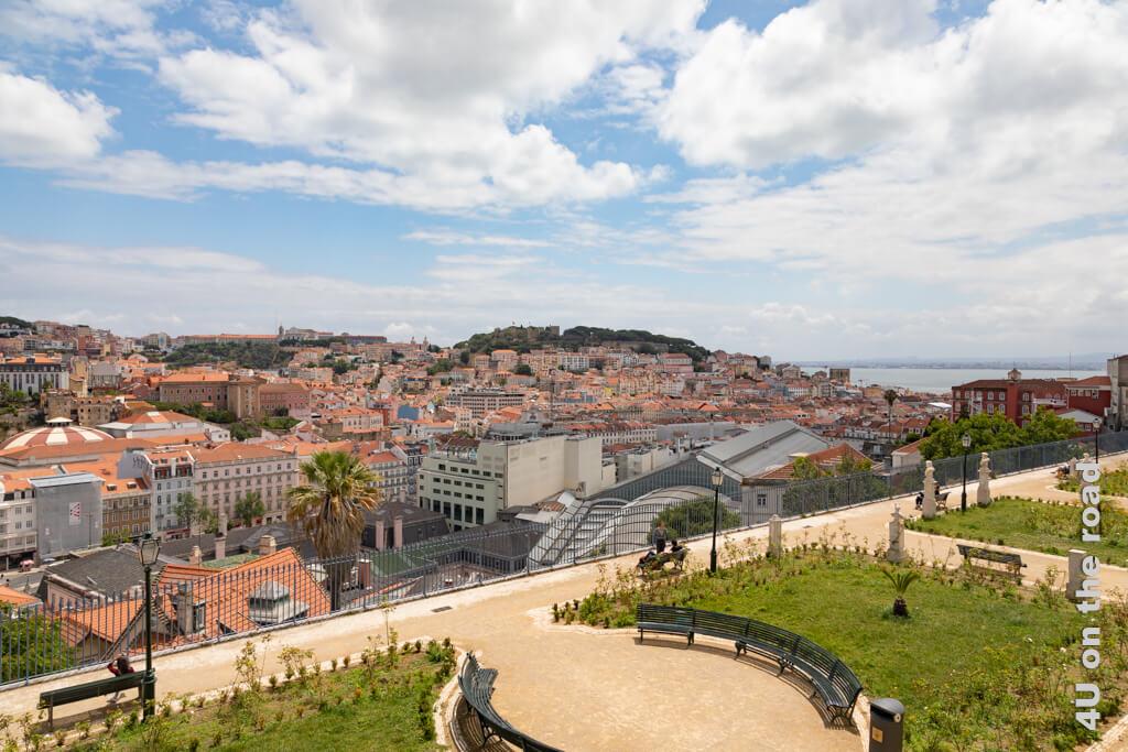Neben Baixa und Alfama kannst du auf das Castelo de São Jorge und den Tejo sehen.